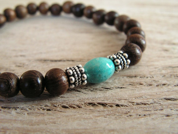 Yoga Bracelet, Jewelry, Stacking Bracelets,  Valentines Day gift, Wood with Turquoise Fossil Bead and Tibetan Silver
