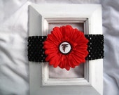Atlanta Falcons-Inspired Elastic Headband with Removable Flower Clip