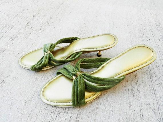 50 39 s kitten heel bedroom slippers olive green and gold - Ladies bedroom slippers with heel ...