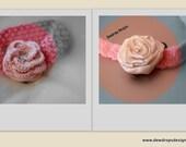 Headband baby Pink Crocheted Flower Satin Rolled Flower Newborn baby girl photoprop