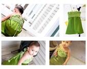 Girls Dress Sleeveless crochet lace top Satin Skirt in Green Baby Toddler Flower Girl Summer Fashion Dewdrops