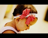 Hair Bow and Headband in Red Polka Dot (Newborn to