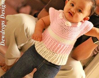 Pattern Crochet Ribbed Dress Newborn Baby Toddler Girls Easy Beginners Seamless Dewdrops No: 215