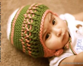 Pattern Crochet Hat Beanie Earflap Flower Newborn Baby Toddler Photoprop Easy Beginner Dewdrops No: 112