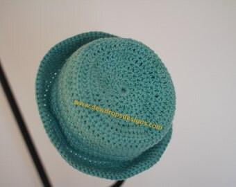 Pattern: Crochet  Hat with Brim Unisex Spring/Summer Sizes - Newborn to Adult