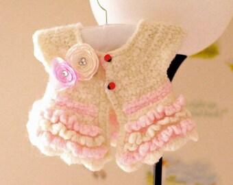 PATTERN Crochet Bolero Overcoat Jacket For Girls Baby Toddler Seamless Easy Dewdrops No:214
