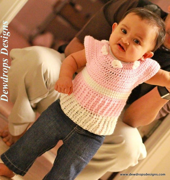 Pattern Crochet Ribbed Dress Newborn Baby Toddler Girls Easy Beginners Seamless Dewdrops No: 215