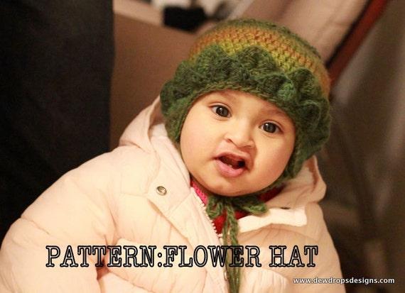 PATTERN: Crochet FLOWER Hat ( Newborn To 12months)