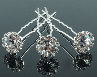 Rhinestone Bridal Hairpins - Set of 3