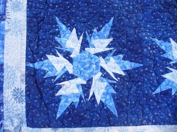 White Silver and Blue Snowflake Twin Size Quilt
