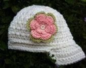 Crochet Baby Girl  Newsboy Hat