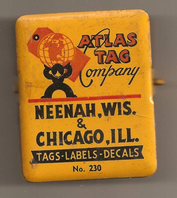 Industrial Clipboard Advertising Paper Clip ATLAS TAG COMPANY 1960's