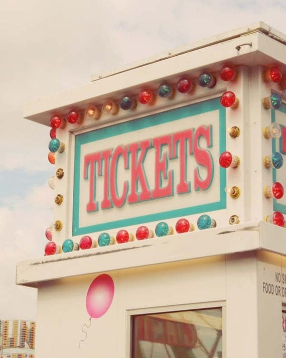 Carnival ticket booth summer pastel 8 x 10 photograph