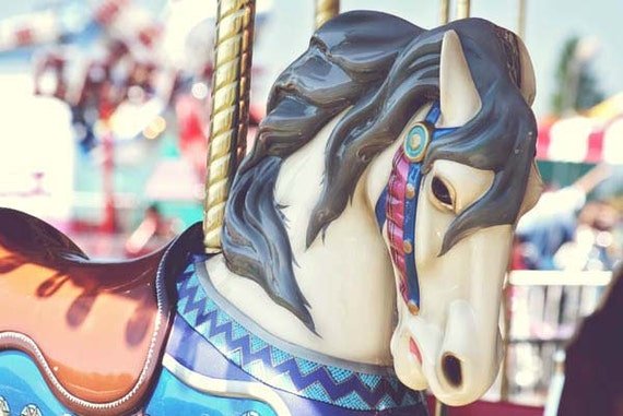 Carousel horse carnival metallic fair summertime colorful 8 x 10 photography