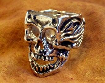 Solid Sterling Silver Skull Ring - Hot Head -