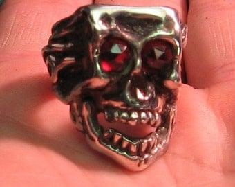 Solid Sterling Silver Skull Ring with Gnarley Garnet Eyes