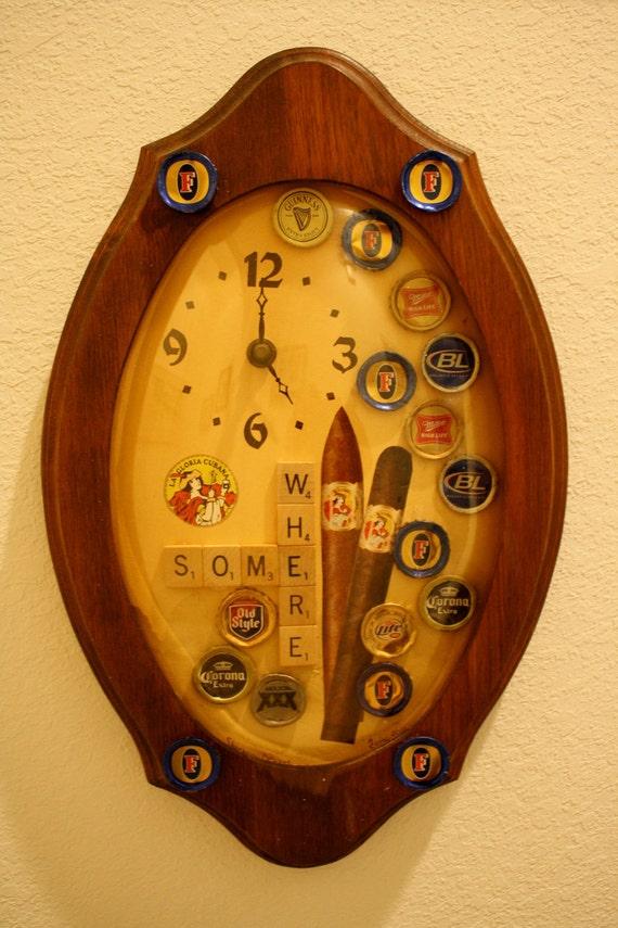 Clock 5 o' Clock Somewhere Mixed Media Wall Clock