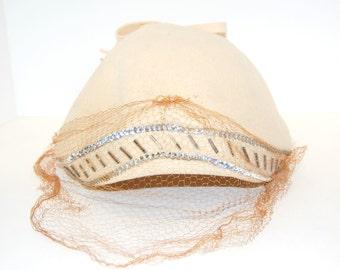 Vintage Cream Wool Felt Sequined and Veiled Hat, Neumann-Endler, Fair Field Felts
