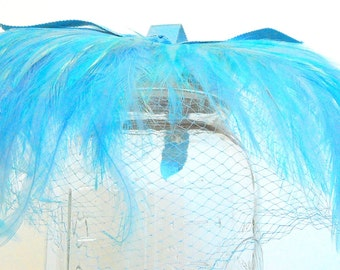 1950s Robin Egg Blue Feathers and Veil with Grosgrain Strips Headpiece