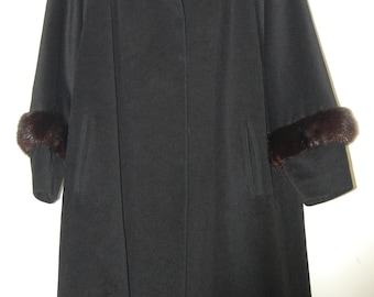 1950s Black Wool Coat with Mink Cuffs, Furlaine, Woven by Worumbo, Hand Tailored, Hudson Woodward Shops, Detroit's Avenue of Fashion