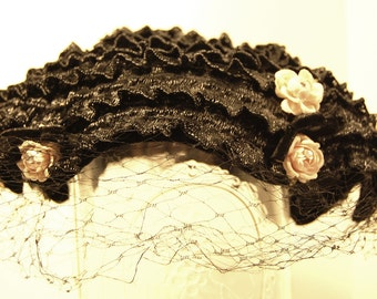Vintage Black Straw Ribbon Hat with Scalloped Velour Edges, Pink Flowers and Black Veil
