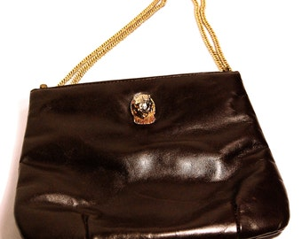 Vintage Ruth E. Saltz Cougar Brown Leather Purse with Goldtone Chain Strap
