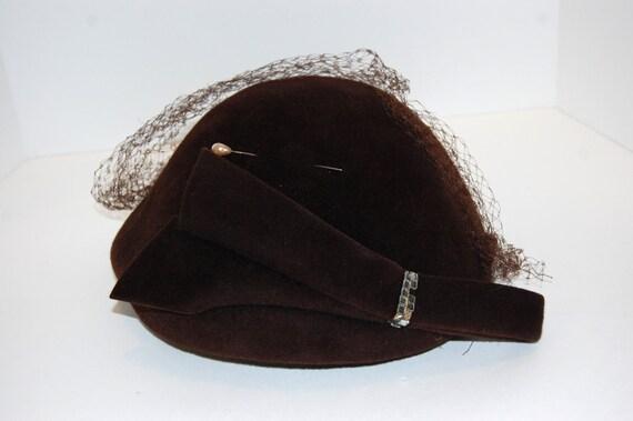 Vintage Fur Felt Velour Rich Brown Hat