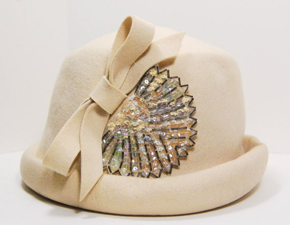 1960s Vintage Wool Felt Cream Hat with Felt Bow, Sequin and Bead Accent, Glamour Felts, Terry Sales Corp., NY