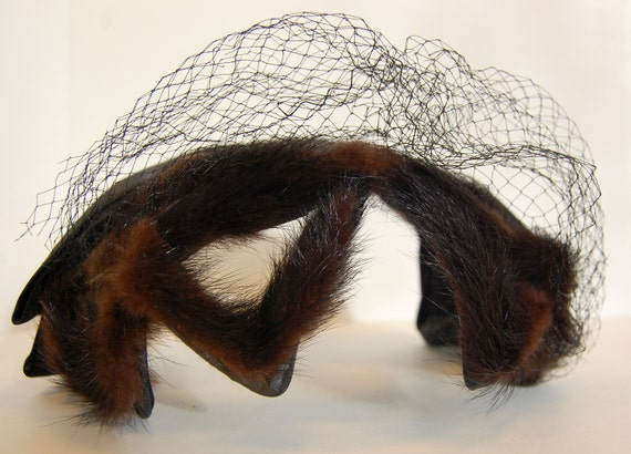 Vintage Mink Headband with Black Satin Bow and Matching Netting