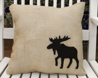 "13""x13"" Burlap Moose Pillow-Wildlife Collection-Choose Your Colors-Rustic/Country/Folk/Americana-Cabin Decor-Lodge Decor-Mountain Home"