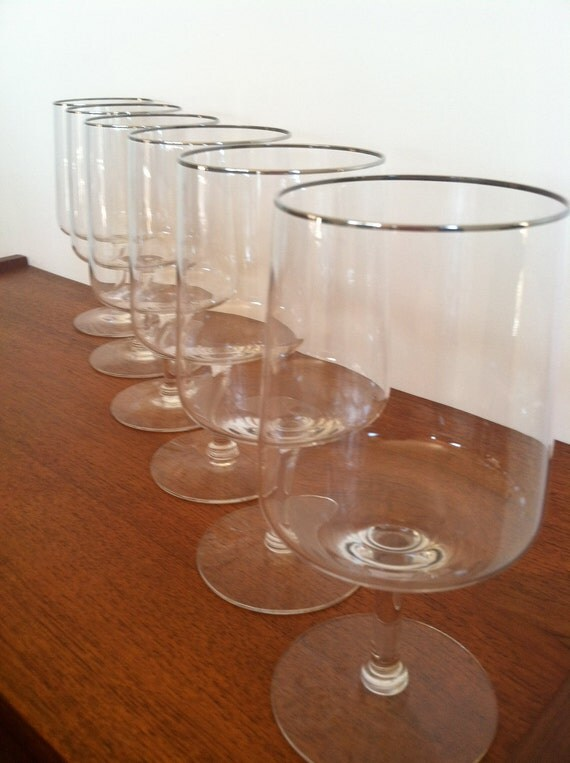 Vintage Silver Rimmed Water Glasses 1960s