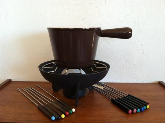 Le Creuset Fondue Pot Set with Original Box 1970s