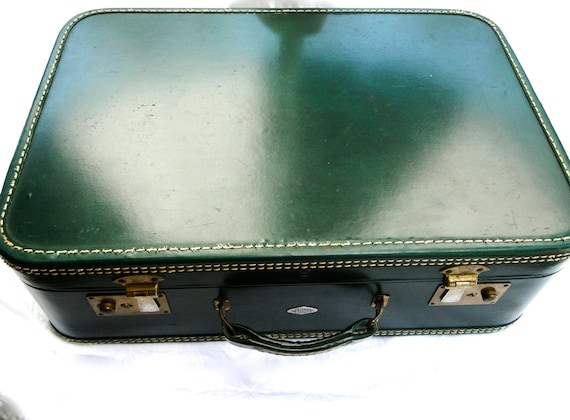 Belber Luggage Emerald Green Leather Suitcase Vintage Mid Century