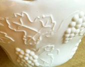 Vintage Indiana Milk Glass Compote  with Grapes, Vines, and  Leaves, Bright White. Great for  Vineyard Wedding Shabby Chic  Decor