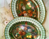 Vintage Autumn Fall Colors  Daher Decorated Ware Tin Wall Plates 2 Flowers and Fruit England Olive Green Gold Orange Red Brown Yellow