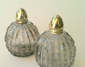 "Vintage Smokey Glass CUT CRYSTAL Salt and Pepper Shakers ""IRICE"" Japanese Grey and Gold"