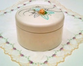 Vintage Ransburg Powder Canister  Soft Pink,  Silver and Turqoise Shabby Chic Hand Painted with Gossamer Flowers