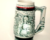 Vintage Mini Stein Man Avon Train   Cave Bar Item.  Mad Men Era Featuring VintageTrains  Dark Green and Blue  Mug/ Stein