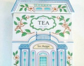 Vintage Lenox Tea Canister.Lenox Village Fine Porcelain 1990 Soft Blue Pink Green Ivory