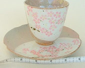 Vintage Hand Made Cherry Blossom Japanese Style Tea Cup & Saucer. Pottery with Tan and  Pink Cherry Blossoms