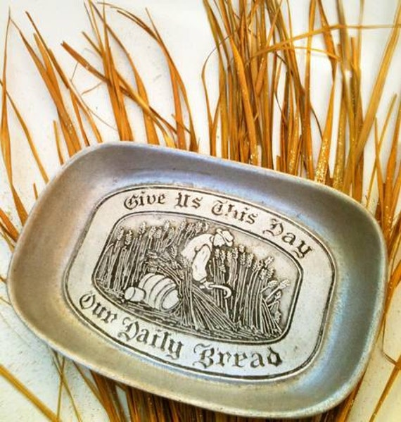 """Vintage Wilton Armetale  """"Give Us This Day Our Daily Bread"""" Pewter Bread Tray  Decorative Plate"""