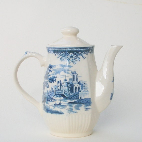 Vintage Blue and White TRANSFER WARE.Olde Country Castles. Made in  England. Anchor Homestead Ironstone Tea/Coffee Pot