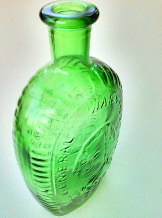SALE  Vintage  Green Glass Bottle President and General George  Washington