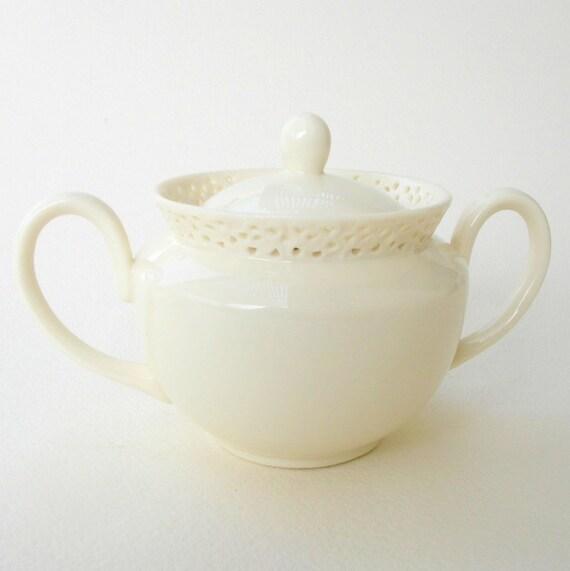 Vintage Sugar Bowl I. Godinger & CO. Creamware Ivory  WHITE on WHITE Covered Lidded Pierced Pattern