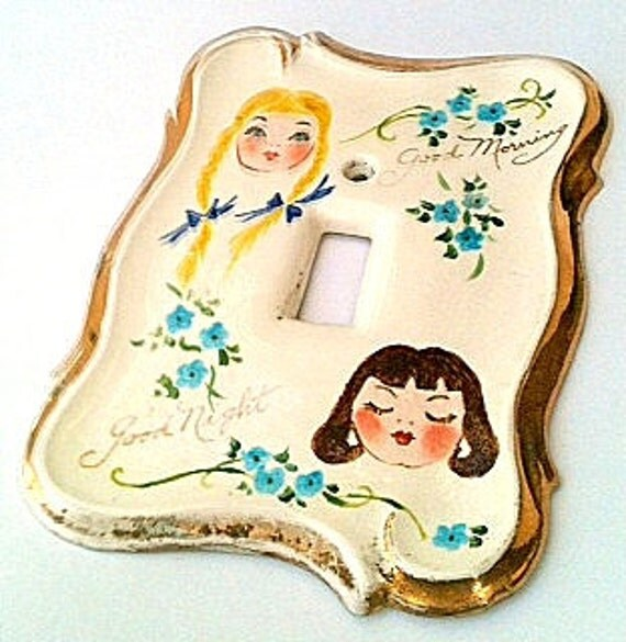 """Vintage Girls Lightswitch Cover.Shabby Chic Hand Painted Blonde Girl with Braids """"Good Morning"""" Brunette Girl Eyes Closed """"Good Night"""""""