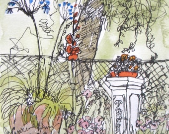 Garden drawing in Ink Reprint Magnet