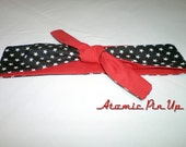 Rockabilly/Pin Up/50's Bandana Style Tie Top Headband Red/Black Stars