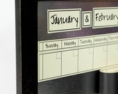 Large Magnetic Dry/Wet Erase Calendar with 6 weeks Showing at All Times. Cream Linen Calendar. You Pick Frame Color & Font.