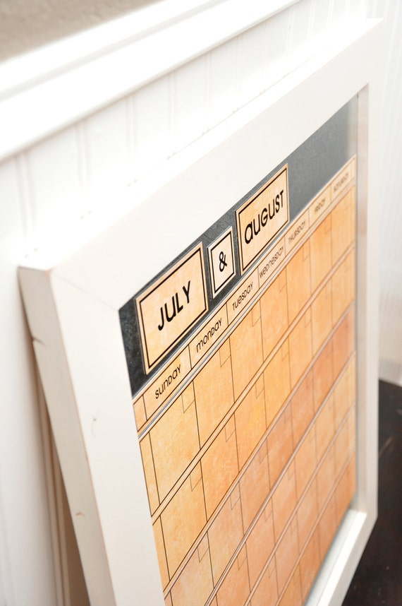 Large Magnetic Dry/Wet Erase Calendar with 6 weeks Showing at All Times. Orange Calendar Color.  You Pick Frame Color & Font.