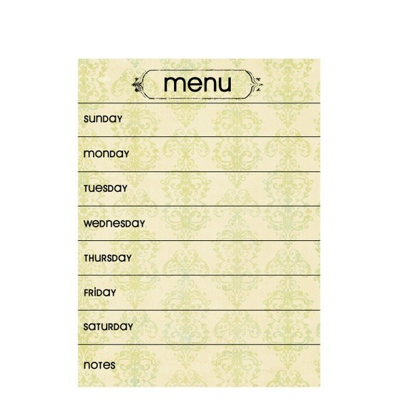 Dry/Wet Erase MENU PLANNING MAGNET.  7 x 9 1/2 inches.  Set of 2.  Cream & Green Vintage Color.